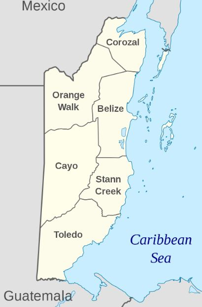 Map showing different districts in Belize