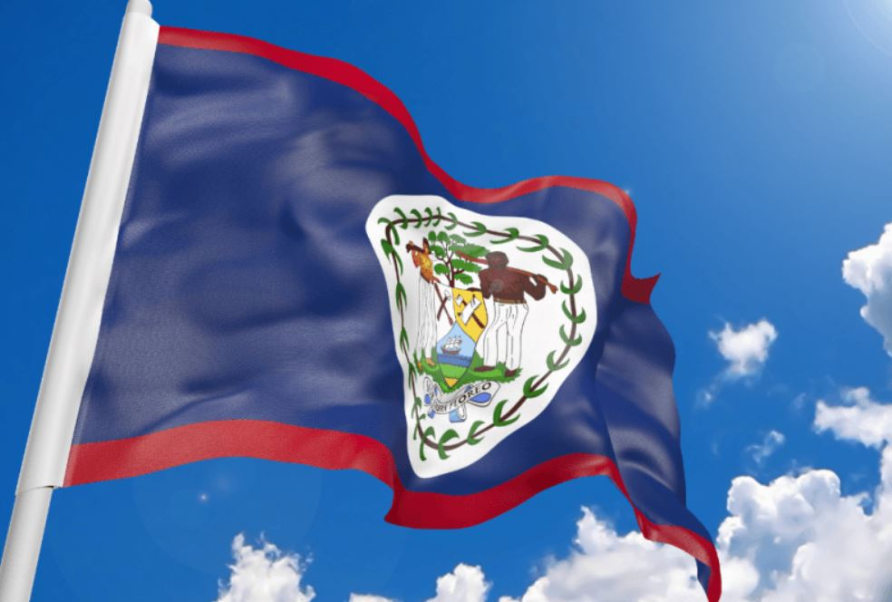 The Belizean Flag on a Clear sunny day