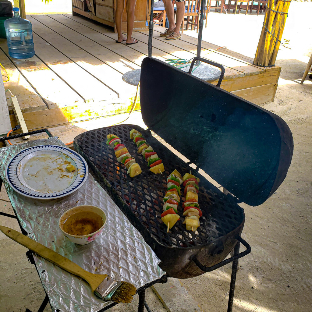 Lobster kabobs on a grill San Pedro Belize