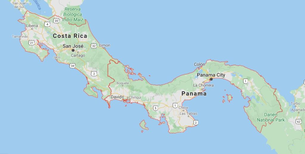 Map showing Costa Rica and Panama